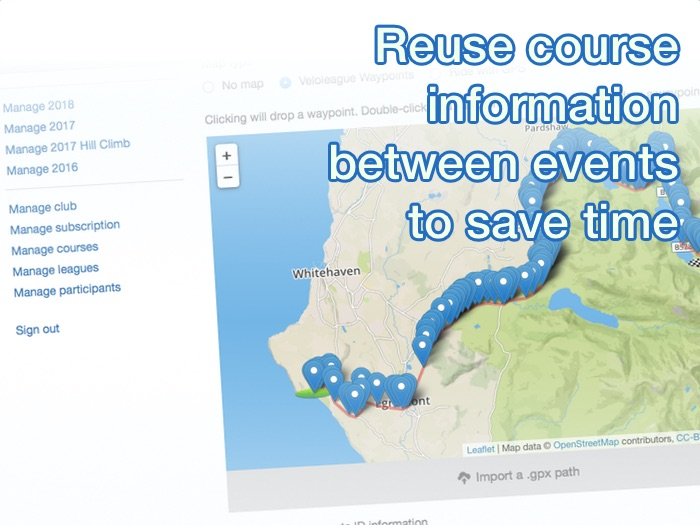 Reuse course information between events to save time